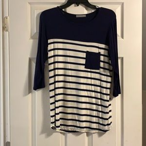 Women's navy and white striped shirt